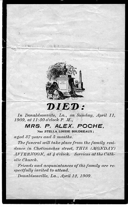 Death Notice Mrs. P. A. Poche